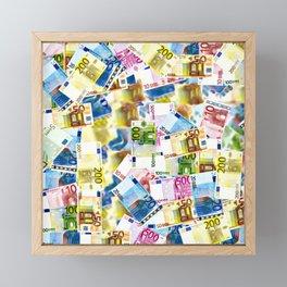 Colorful Euros Pattern - Money - LOA - Abundance - Cash Framed Mini Art Print