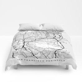 Scandinavian map of San Francisco Penninsula Comforters