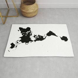 Dymaxion World Map (Fuller Projection Map) - Minimalist Black on White Rug