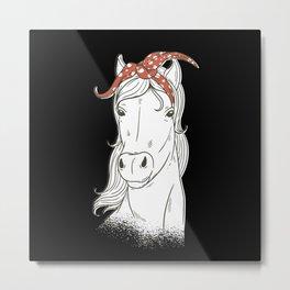Cute White Horse Metal Print