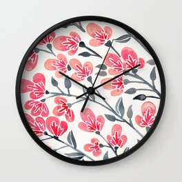 Cherry Blossoms – Pink & Black Palette Wall Clock