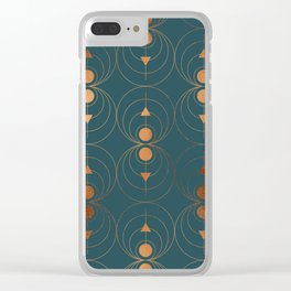 Copper Art Deco on Emerald Clear iPhone Case