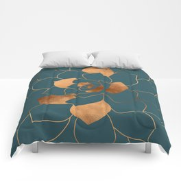 Abstract Metal Copper Blossom on Emerald Comforters