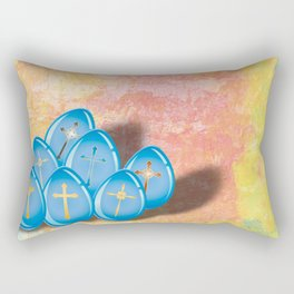 Blue eggs and crosses on pastel textured background Rectangular Pillow