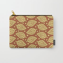 Mid Century Modern Falling Leaves Pattern Brown Chartreuse Carry-All Pouch