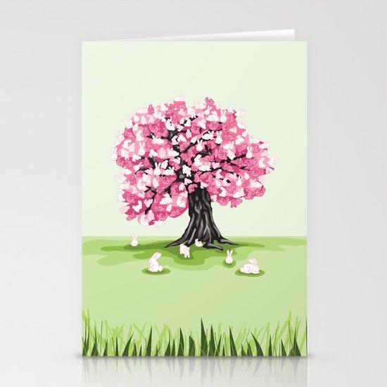 Bunny Blossom Tree Stationery Cards