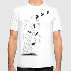 Birds Mens Fitted Tee MEDIUM White