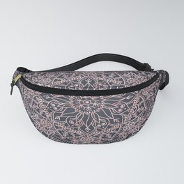 Elegant rose gold poinsettia and snowflakes mandala art Fanny Pack