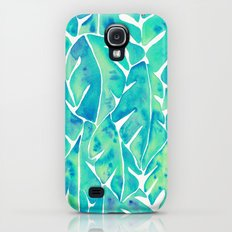 Split Leaf Philodendron – Turquoise Slim Case Galaxy S4