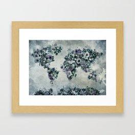 floral world map 2 Framed Art Print
