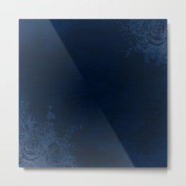 Deep Blue Velvet Texture Rose Flowers Metal Print