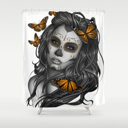 Sugar Skull Tattoo Girl with Butterflies Shower Curtain