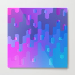 Purple Blue And Pink Liquid Type Abstract Design Metal Print