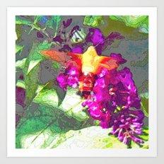 Butterfly Over Fuchsia Flowers Art Print