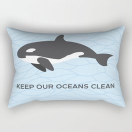 Keep Our Oceans Clean Orca On A Blue Wave Background Rectangular Pillow