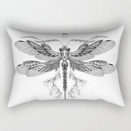 Dragon Fly Tattoo Black and White Rectangular Pillow