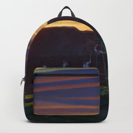 Dan Wards Hay Stack, Heartland Sunset landscape painting by Rockwell Kent Backpack