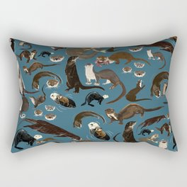 Otters of the World pattern in teal Rectangular Pillow
