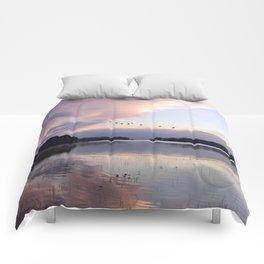 Uplifting: Geese Rise at Dawn on Lake George Comforters