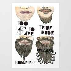 the beard chart of dudeliness Art Print