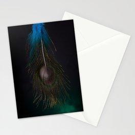 Mystical Fantasy Elegant Blue Tropical Peacock Feather Dark Design Stationery Cards