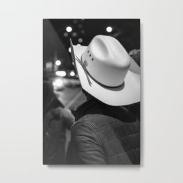 New York City cowboy night out in Black and white Metal Print