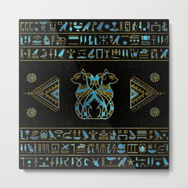 Egyptian Cats Gold and blue stained glass Metal Print