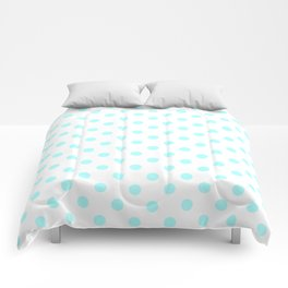 Small Polka Dots - Celeste Cyan on White Comforters