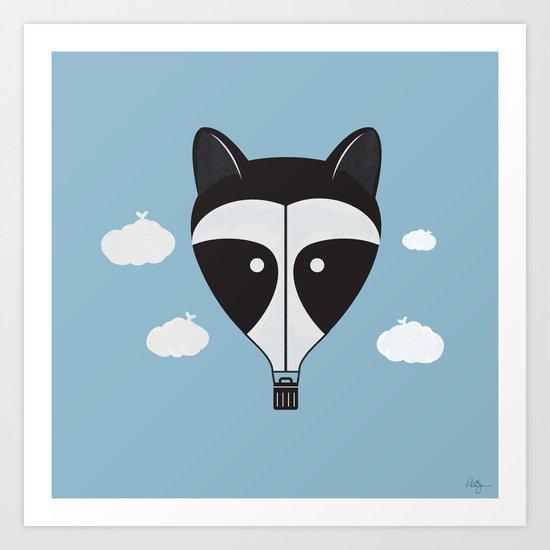 Hot Air Raccoon Art Print