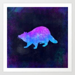 RACCOON IN SPACE // Animal Graphic Art // Watercolor Canvas Painting // Modern Minimal Cute Art Print