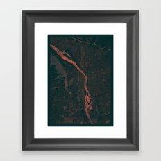 Portland Map Red Framed Art Print