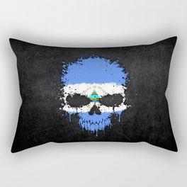 Flag of Nicaragua on a Chaotic Splatter Skull Rectangular Pillow