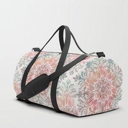 Autumn Spice Mandala in Coral, Cream and Rose Duffle Bag