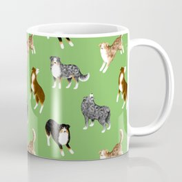 Australian Shepherd Pattern (Green Background) Coffee Mug