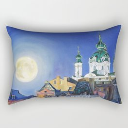 The church under the moon Rectangular Pillow