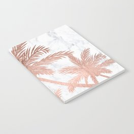 Tropical simple rose gold palm trees white marble Notebook