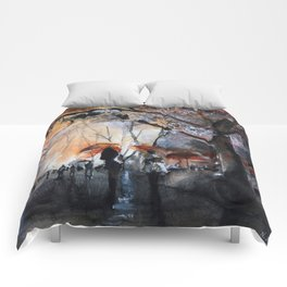 Watercolor painting - Autumn rain - Comforters