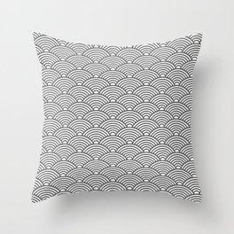 Japanese Waves (Grey & White Pattern) Throw Pillow