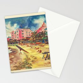 Hawaii's Famous Waikiki Beach - United Air Lines Vintage Travel Poster Stationery Cards