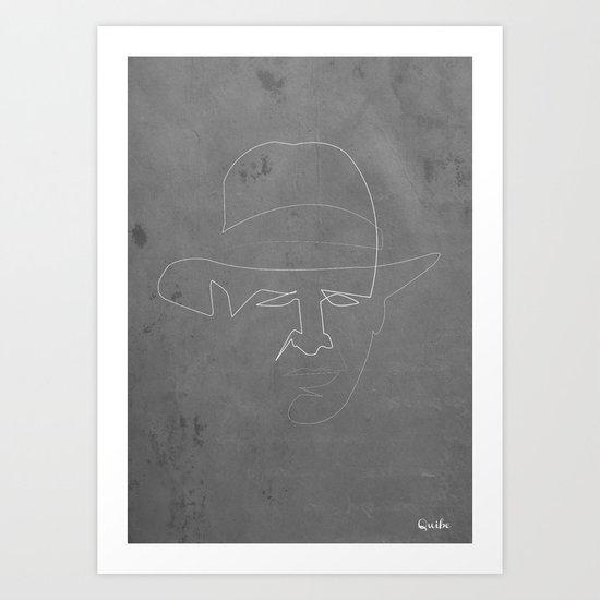 One line Indiana jones Art Print