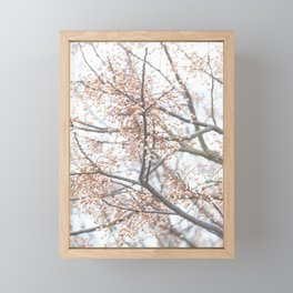 Tree with coral berries and flowers Framed Mini Art Print
