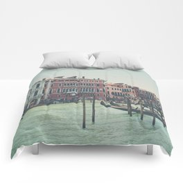 looking along the Grand Canal in Venice Comforters