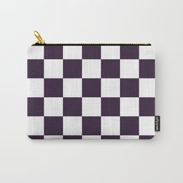 Checkered - White and Dark Purple Carry-All Pouch