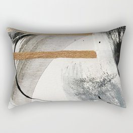 Armor [7]: a bold minimal abstract mixed media piece in gold, black and white Rectangular Pillow