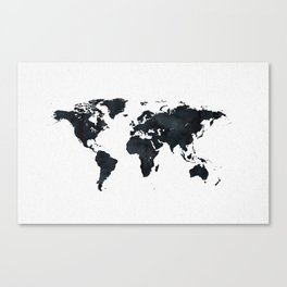 World Map in Black and White Ink on Paper Canvas Print