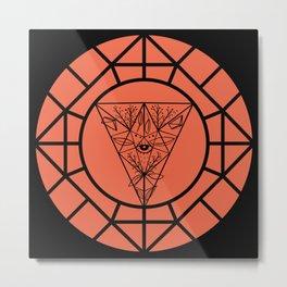 Moon Mystery Geometry Terracotta Metal Print