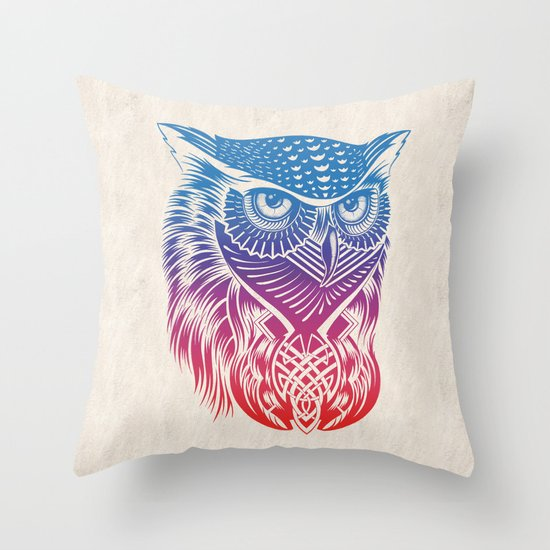 Owl of Color Throw Pillow