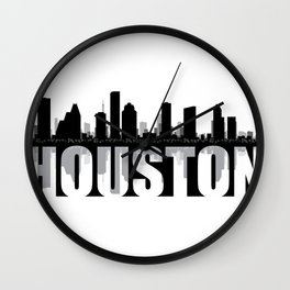 Houston Silhouette Skyline Wall Clock