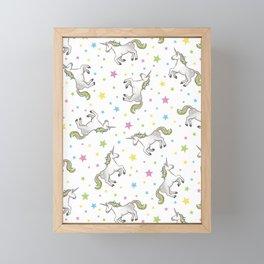Unicorns and Stars - White and Rainbow scatter pattern Framed Mini Art Print