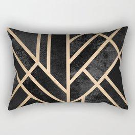 Art Deco Black Rectangular Pillow